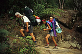 Wanderer mit Kind im Rucksack auf dem Abel Tasman Coast Track, Abel Tasman Nationalpark, Neuseeland, Ozeanien