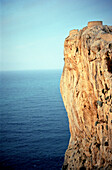 Cliff at the east coast in the sunlight, Mallorca, Spain, Europe