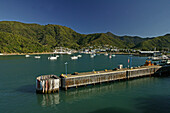 Picton harbour, ferry terminal, arrival at Picton in the north of the South Island, Ankunft an der Suedinsel, Picton Hafen
