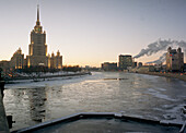 Frozen river Moskva and russian architecture, Moscow, Russia