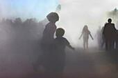 Children running through Fog, outdoor, people