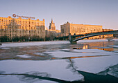 Ice on the river Moskva, Moscow Russia
