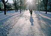 people on Gogol Boulevard, Moscow, Russia