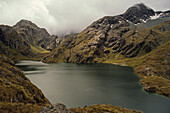 Lake Harris, Routeburn Track, crossing Harris Saddle on Routeburn Track, walking track in Mount Aspiring and Fiordland National Park, one of New Zealand's Great Walks