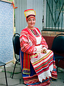 Woman in Russian traditional costume, Moscow, Russia