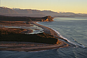 Aerial view of Gillespies Beach in the evening light, West Coast, South Island, New Zealand, Oceania