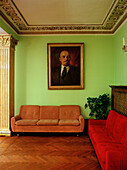 Painting of Lenin in the lobby of Hotel Sovietsky, Moscow, Russia