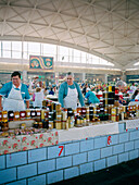 Women selling honey in the market hall, Cheryomushkinsky, Moscow, Russia