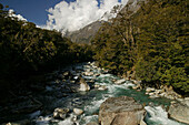 Mountain stream at Fiordland National Park, Milford Road, South Island, New Zealand, Oceania