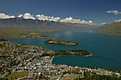 View from Bob's Peak, Queenstown, Above Queenstown Lake Wakatipu and the peaks of the Remarkables, Otago, New Zealand, Oceania