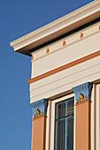 Detail des Rothmans Gebäudes im Sonnenlicht, Napier, Hawkes Bay, Nordinsel, Neuseeland, Ozeanien
