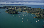 Aerial Bay of Insel, Bay of many green islands bays and beaches, scenic flight, malerische Buchten zahlreiche Inseln, Luftaufnahme, aerial
