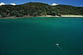Lonely swimmer, Bay of Islands, Einsamer Schwimmer, Bay Islands, bays and beaches, malerische Buchten zahlreiche Inseln, turquoise water