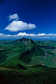 Aerial view of mountain range and Mount Pieter Both, Le Pouce, Mauritius, Africa