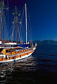 Sailing boat off coast in the sunlight, Turkish Aegean, Turkey, Europe