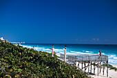 Jetty on the beach in Cancun, Yucatan, Quintana Roo, Mexico, America