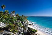 Ruin of Tulum at the coast in the sunlight, Yucatan, Quintana Roo, Mexico, America