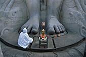 Feets of the 17m huge Sri Gometeswara Statue, Jain Saint, Sravanabelagola, Karnataka, India