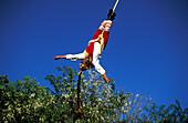 Voladores de Papantia, acrobat wearing traditional costume hanging on a rope, Veracruz, Mexico, America