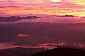 View from Sri Papda Adam Peak at sunset, Highlands, Central Province, Sri Lanka, Asia