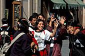 Cheerful teenagers at the pedestrian area, San Luis Potosi, Mexico, America