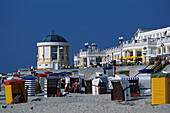 Beach chairs and promenade, Borkum, East Frisia, Lower Saxony, Germany
