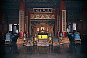 The throne in the Hall of Preserving Harmony, Palace of the Emporer, Forbidden City, Beijing, China