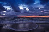 Sundown at Darsser Westbeach, NP Vorpommern, Mecklenburg- Vorpommern, Germany