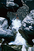 Man canyoning, Valle di Maggia, Ticino, Switzerland