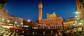 Piazza del Campo, town hall with Torre del Mangia at night, Siena, Tuscany, Italy