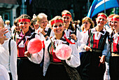 Group with traditional costumes, Tallinn Estonia