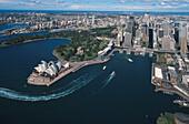 Sydney Opera House from the air, Sydney Opera House, architect Jørn Utzon, Sydney, Sydney Harbour, New South Wales, Australia