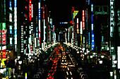 Ginza, Neon advertising at night, road traffic, Tokyo, Japan