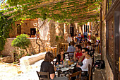 Street cafe in the medieval village of Monemvasia, Lakonia, Peloponnese, Greece