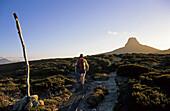 walking towards Barn Bluff on the Overland Track, Cradle Mountain National Park, Tasmania, Australia
