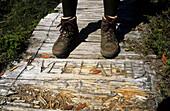 Wanderschuhe auf einer Holzbrücke, Cradle Mountain Nationalpark, Overland Track, Cradle-Mountain-Lake-St.-Clair-Nationalpark, Tasmanien, Australien