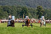 Final run, first oxrace of Bichl, August 8th 2004, Finale, Erstes Bichler Ochsenrennen am 8.8.2004 in Bichl, Oberbayern, Deutschland Upper Bavaria, Germany