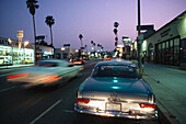 Cars on the Sunset Boulevard in the evening, Hollywood, Los Angeles, California, USA, America