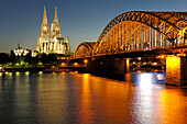 Cologne Cathedral and Deutzer Bridge, Rhein, Cologne, North Rhine-Westphalia, Germany