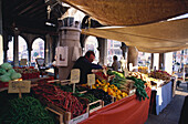 Stand with vegetables at the Rialto market, Venice, Italy, Europe