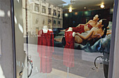 Shop window with advertisement, Florence, Tuscany, Italy, Europe