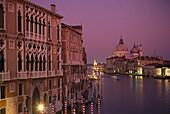 Abendlicht, Canale Grande, Santa Maria della Salute, Venedig Venetien, Italien