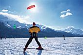 People snowkiting, St. Moritz, Grisons, Switzerland, Europe