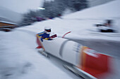 Two-man bobsled in action