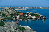 Houses on the rocky island Tjoern, Bohuslan, Sweden, Europe
