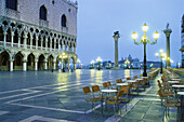 The deserted St. Marc's square in the evening, Venice, Italy, Europe