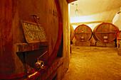 Barrels at winery Aldo Conterno, Monforte d' Alba, Piedmont, Italy, Europe
