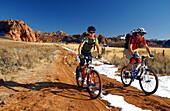 Two people on a mountain bike tour, Gooseberry Trail, Zion National Park,Springdale, Utah, USA