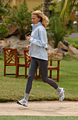 A woman jogging, running on Mauritius, Fitness