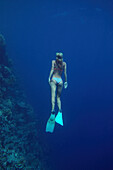 Woman underwater, freediving, Soma Bay, Hurghada, Egypt